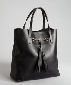 Gucci : black leather horse bit and tassel tote with pouchette : style # 323321601