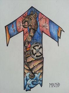 Viking Rune Tattoo, Norse Tattoo, Viking Tattoos, Viking Symbols, Viking Runes, Nordic Image, Scandinavian Tattoo, Odin And Thor, Skull Sleeve Tattoos