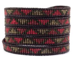 Chan Luu - Red Mix Beaded Wrap Bracelet on Natural Dark Brown Leather, $210.00 (http://www.chanluu.com/mens-wrap-bracelets/red-mix-beaded-wrap-bracelet-on-natural-dark-brown-leather/)