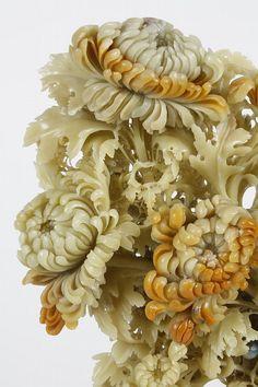 CHINESE STONE CARVING OF CHRYSANTHEMUMS - Three dimensional