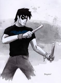 Nightwing casual (Young Justice) What if someone wrote a fan fiction where the characters are normal people and they still work together in certain occasions. But NOT as heroes and villains. That'd be cool.