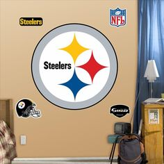 Fathead wall graphics are constructed from tough, tear and fade-resistant vinyl and feature high-resolution 3D graphics. Fatheads use a low-tack adhesive and can be moved and reused without damaging surfaces. Also includes smaller decals.  This Pittsburgh Steelers Logo-Fathead will look great in your son or daughters room.  This Pittsburgh Steelers Logo-Fathead will also look great in your man-cave. A fathead is a great way to decorate your walls, this Pittsburgh Steelers Logo-Fathead is…