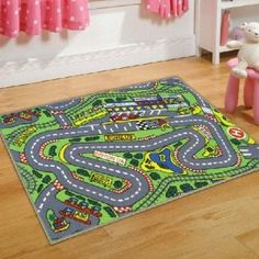 Childrens Formula One Playmat Roadmap Toy Cars Hot Wheels Bedroon Play Room Racing Track 80 x 120 Cm Rug: Amazon.co.uk: Kitchen Home (12 euro)