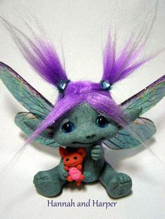 OOAK Trollfling Troll Fairy HannaLee and her baby by Amber Matthies