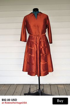 1950's Copper Silk, Fit and Flare Dress.