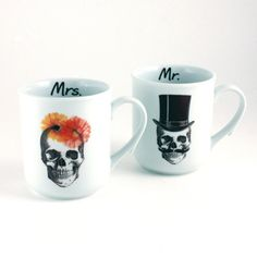 Sugar Skull Mr. Mrs. 2 Mugs Anatomical Head by MoreThanPorcelain, €28.00
