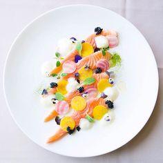 Citrus Cured Salmon, Chioggia Beetroots Pickled, Lemon Honey Espuma, Avruga Caviar, Lemon Gel
