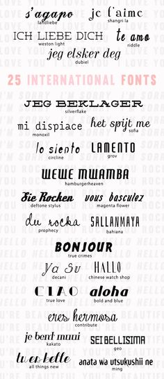 25 international fonts