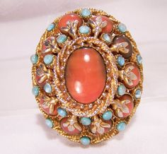 Vintage Har Domed Faux Carnelian Turquoise by GretelsTreasures