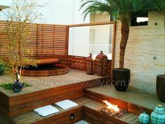 Outdoor Bathrooms 106467978678623190 - Beautiful Outdoor Bathroom Design, Charming and Soothing Home Spa Ideas Source by lauren_deagle Outdoor Bathtub, Outdoor Spa, Outdoor Bathrooms, Outdoor Fire, Indoor Outdoor, Outdoor Decor, Outdoor Decking, Indoor Pools, Outdoor Ideas