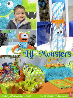 lil monster Birthday Party  - lil monster Birthday Party Ideas, Birthday Child in photobooth, lil monster table decorations, centerpieces