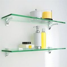Glass Shelf Clip Kits - gunna get this for bathroom since we need a little more storage and this will be low profile.