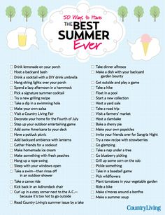 Download checklist of 50 things to do to have the Best Summer EVER!
