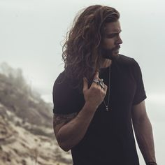 (Lane Dorsey) Good lord, again with the hair. Maybe I should just have Otto with long curly hair instead of a shaved-sides topknot. the big rings, the beard, the curls and tattoos. Hair And Beard Styles, Curly Hair Styles, Man Bun, Male Beauty, Bearded Men, Gorgeous Men, Hair Goals, Hair Inspiration, Sexy Men