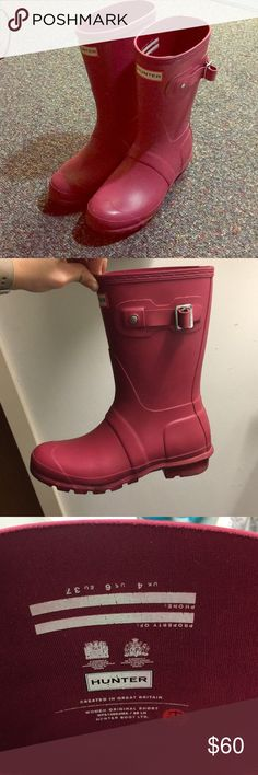 Pink matte short hunter boots Only worn a handful of times, NOT glossy, just regular berry/pink color Hunter Shoes Winter & Rain Boots