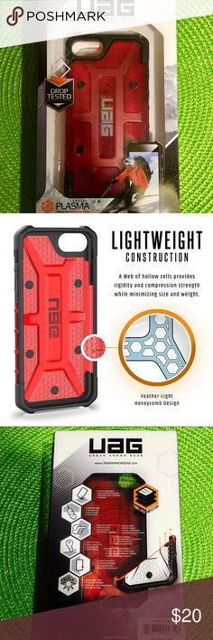 Urban Armor Gear Plasma Series iPhone 7/6s Case Urban Armor Gear Plasma Series iPhone 7/6s Case Military Drop Tested iPhone Case ! 100% new IN BOX, Retail price $39.95,                     Color: magma (red) Case compatible with iPhone 7 / 6s / 6 (4.7-inch) Armor shell and impact resistant soft core Feather-light composite construction Oversized tactile buttons Easy access to touchscreen and ports Scratch resistant skid pads and screen surround Apple Pay compatible  Meets military drop-test…