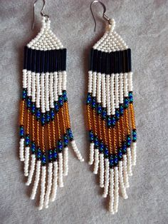 Seed bead beaded earrings ivory amber and by ArtskilsEarrings, $18.75