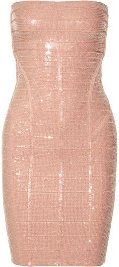 HERVE LEGER Sequined Bandage Dress - Lyst