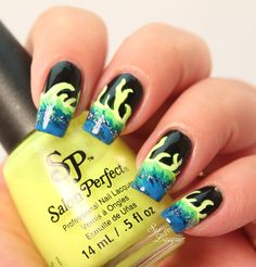 Neon flames (waves?) nail art - Set in Lacquer