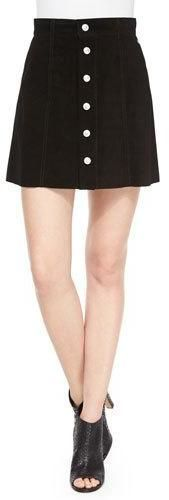 $261 AG Adriano Goldschmied The Gove Pleated Suede Skirt, Super Black