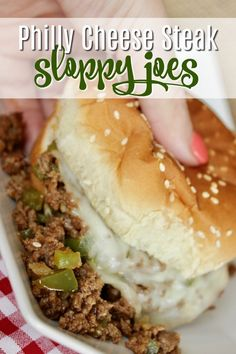These Philly Cheese Steak Sloppy Joes are so dang good. Way better than sloppy joes with the canned filler! If you need an easy sloppy joes recipe that has all whole ingredients, look no further… Soup And Sandwich, Sandwich Recipes, Philly Cheese Steak Sandwich Recipe Easy, Slider Recipes, Wrap Recipes, Loose Meat Sandwiches, Steak Sandwiches, Sammy, Joe Recipe