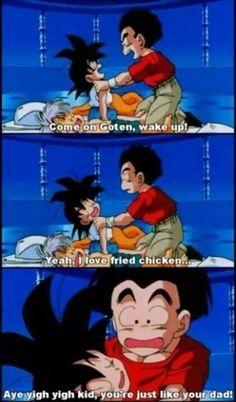 Goten loves his chicken, LOL.