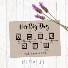 Wedding Timeline Template Card Digital Printable Timeline Card