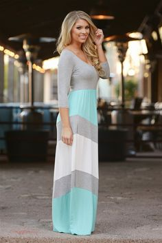 Best Wishes Color Block Maxi Dress - Mint from Closet Candy Boutique - work dresses, black and white dresses for juniors, cute maroon dresses *ad Short Beach Dresses, Modest Dresses, Modest Outfits, Pretty Dresses, Sexy Dresses, Casual Dresses, Summer Dresses, Dress Long, Summer Maxi