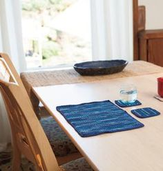 Tunsian Crochet Placemat and Coasters