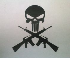 "Punisher Skull and Cross Guns AR15 M16 6"" T Vinyl Decal or Sticker Skull and Crossbones by GaltGrafix on Etsy"