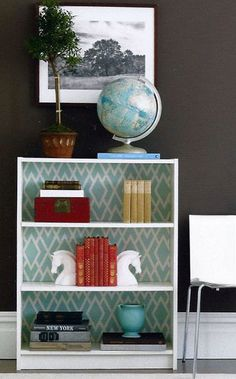 Bookcase Back Panel Ideas: Jazz up inexpensive store bought bookcases by using fabric on the back panel. This Ikea bookcase is anything but plain with a modern geometric print fabric added to the back.