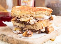 Funky Monkey Grilled Cheese- Peanut Butter Nutella Banana Honey and ...