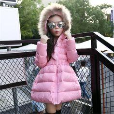 女の子のジャケット&コート新しい2016新着ファッション毛皮フード付き厚く暖かいパーカーダウン子供服綿子供の生き抜く服
