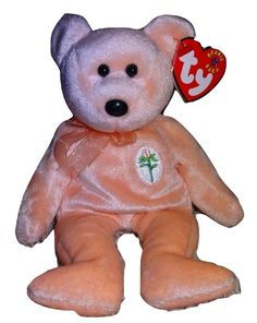3fc9abf92f6 Beanie Baby Dearest Peach Colored Bear TY PE Pellets 2000 Heart Hang Tag TH   Ty