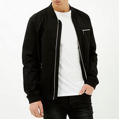 Black zip pockets bomber jacket £48 #RImenswear