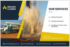 Drilling and Pumps :) Northern Cape  Drilling  of Boreholes Cleaning of Boreholes Installation of Pumps, Tanks and Stands  Email: unlimitedfs10@gmail.com Phillip: 071 790 3105 Francois: 082 774 1064 Tumi: 078 504 8344 Tumi, Tanks, Drill, Cape, Cleaning, Mantle, Hole Punch, Cabo, Shelled