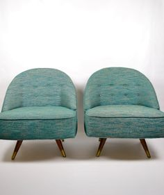 I love these chairs. Amazing blue tweed and apparently they swivel. Sold (of course) on etsy by featherbearvintage.
