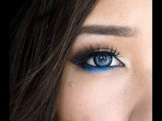 Modern Blue Eye Makeup (DAY or NIGHT) - YouTube = Gold shadow with blue liner