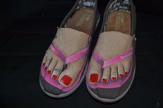 """a custom pair of canvas TOMS for women hand-painted with a """"Forever Summer"""" flip-flop/foot theme"""