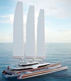 This is The Triamaran of the Future - Este es el trimarán del futuro