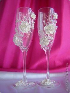 Декор предметов Свадьба Лепка Свадебные бокалы Сакура  фото 1