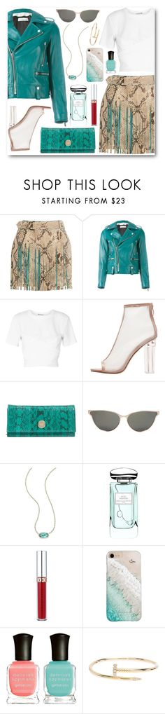 """Turquoise"" by alexa-girl2 ❤ liked on Polyvore featuring Roberto Cavalli, Golden Goose, T By Alexander Wang, Jimmy Choo, Linda Farrow, Kendra Scott, By Terry, Anastasia Beverly Hills, Gray Malin and Deborah Lippmann"