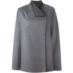 Joseph Double Breasted Cape Coat ($944) ❤ liked on Polyvore featuring outerwear, coats, grey, josephs coat, grey cape, double-breasted coat, grey coat and double breasted cape coat