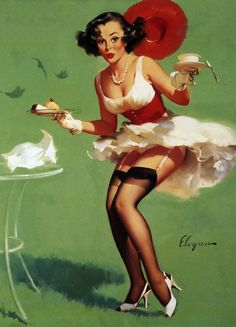 "Gil Elvgren - ""Fresh Breeze"" (Catering Wind; Breezy Teas) 1960 [486]"