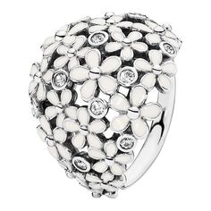 Pandora Silver Cz & Enamel Daisy Ring (150 RON) ❤ liked on Polyvore featuring jewelry, rings, jewelry & watches, nocolor, silver jewelry, cubic zirconia jewelry, silver enamel ring, pandora rings and silver daisy ring