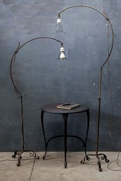 light fixtures - so pretty (via Home Decor Gray Space / Hand Forged Industrial Bronze Roycroft Arts & Crafts Floor Lamps) Industrial Chic, Vintage Industrial, Industrial Lamps, Industrial Industry, Design Industrial, Industrial Bookshelf, Industrial Windows, Industrial Restaurant, Homemade Home Decor