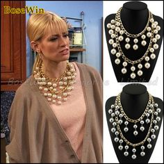 Fashion Double Gold Chains Cross Pearls Beads Pendant Statement Necklaces 2013 New Design Costume Jewellery CE1227 $10.99
