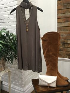 Now, wear this alone or throw on a comfy wrap/sweater and you are off! $68 boots, $42 clutch, $49 #shopalb #apricotlanets