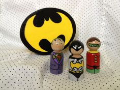 Batman and Robin Peg People set with Joker and Storage box - IN STOCK