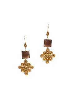 Geometric shapes and a floral-inspired motif combine to give these Silvermerc earrings a distinctive, unique look. Measuring 31 x 81 mm, these earrings are crafted from 22 ct gold plated sterling silver and feature a dangling design with small smoky quartz stones and French wire hooks that make them incredibly comfortable to wear.